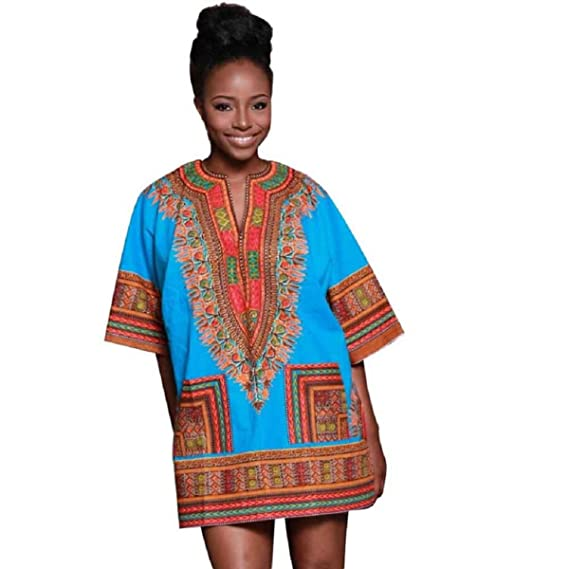 Tonsee Women Traditional African Print Dashiki Bodycon Short Sleeve