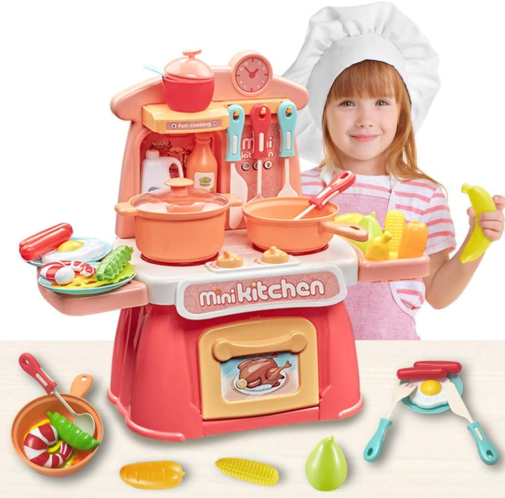 Elovien 26PCS Kitchen Playset with Realistic Sound and Light, Mini Play Kitchen with Pretend Play Food, Chef Role Play Educational Kids Cooking Toys Kitchen Accessories Set for Toddlers Aged 3+