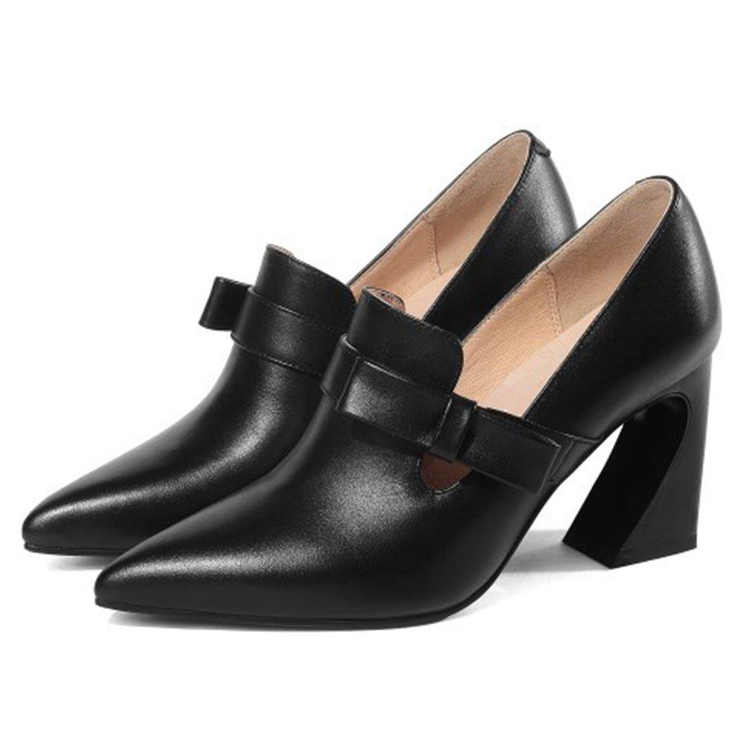 GAOLIXIA Damenschuhe Spitz High Heels Roman Schnalle High Heels Mode Wild Arbeit Schuhe Freizeitschuhe Schwarz Cremig-Weiß