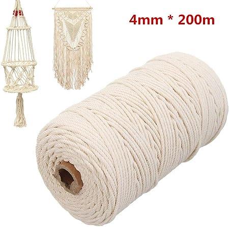 Cuerda de algodón macramé natural de 200 m,Cuerda artesanal natural de cuerda de algodón macramé,Hilo de tejer artesanal con cordón de algodón DIY,para uente decorativa para el jardín (4mm): Amazon.es: Hogar