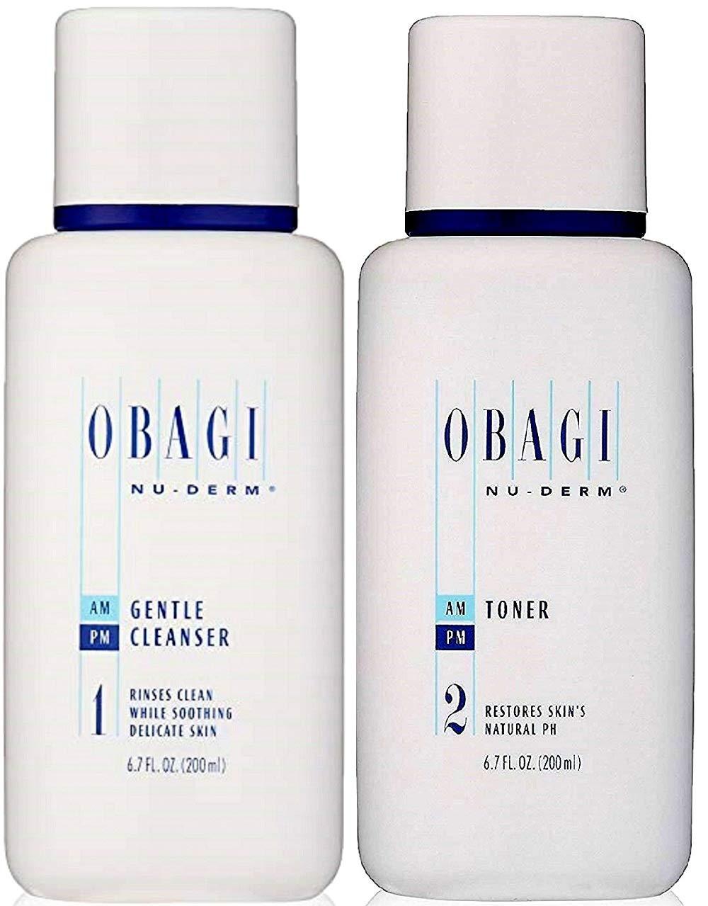 Duo Set Nu Derm Gentle Face Cleanser 6.7 Oz Facial Skin Toner 6.7 oz