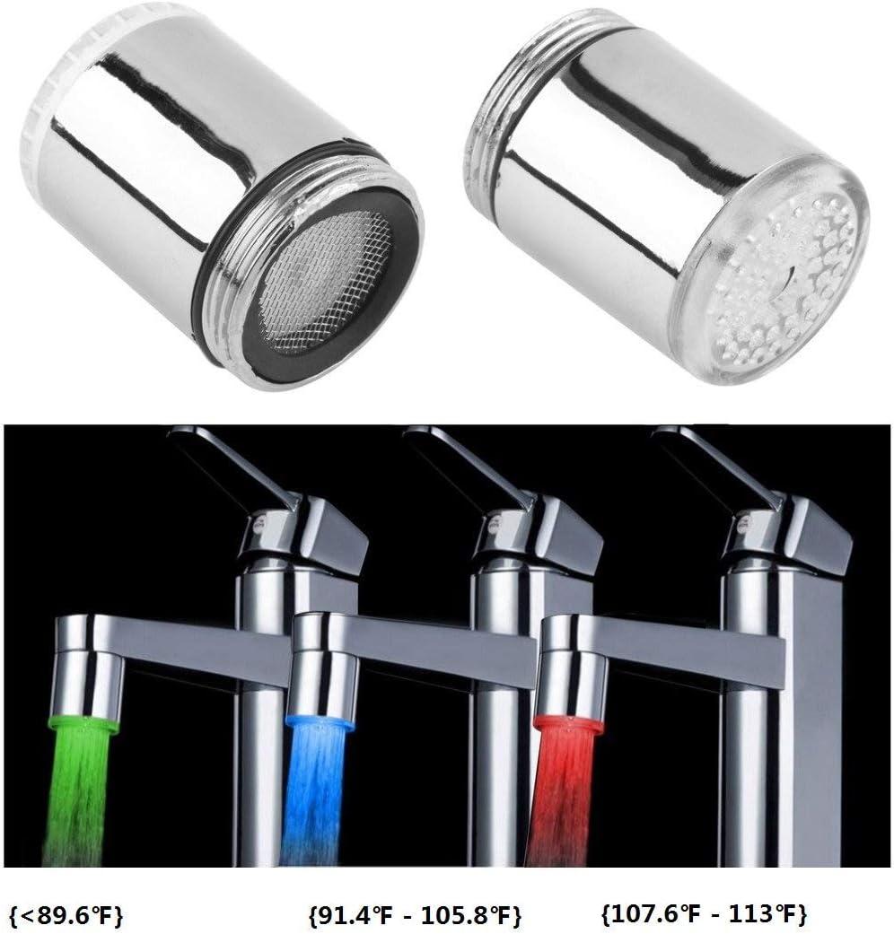 Cocina Nuevo 7 colores que cambian automáticamente Luz LED Cabeza de ducha Agua Los niños se lavan las manos más Sensor de temperatura Stream Toque Pulverizador para la cocina Fregaderos (1 PC)