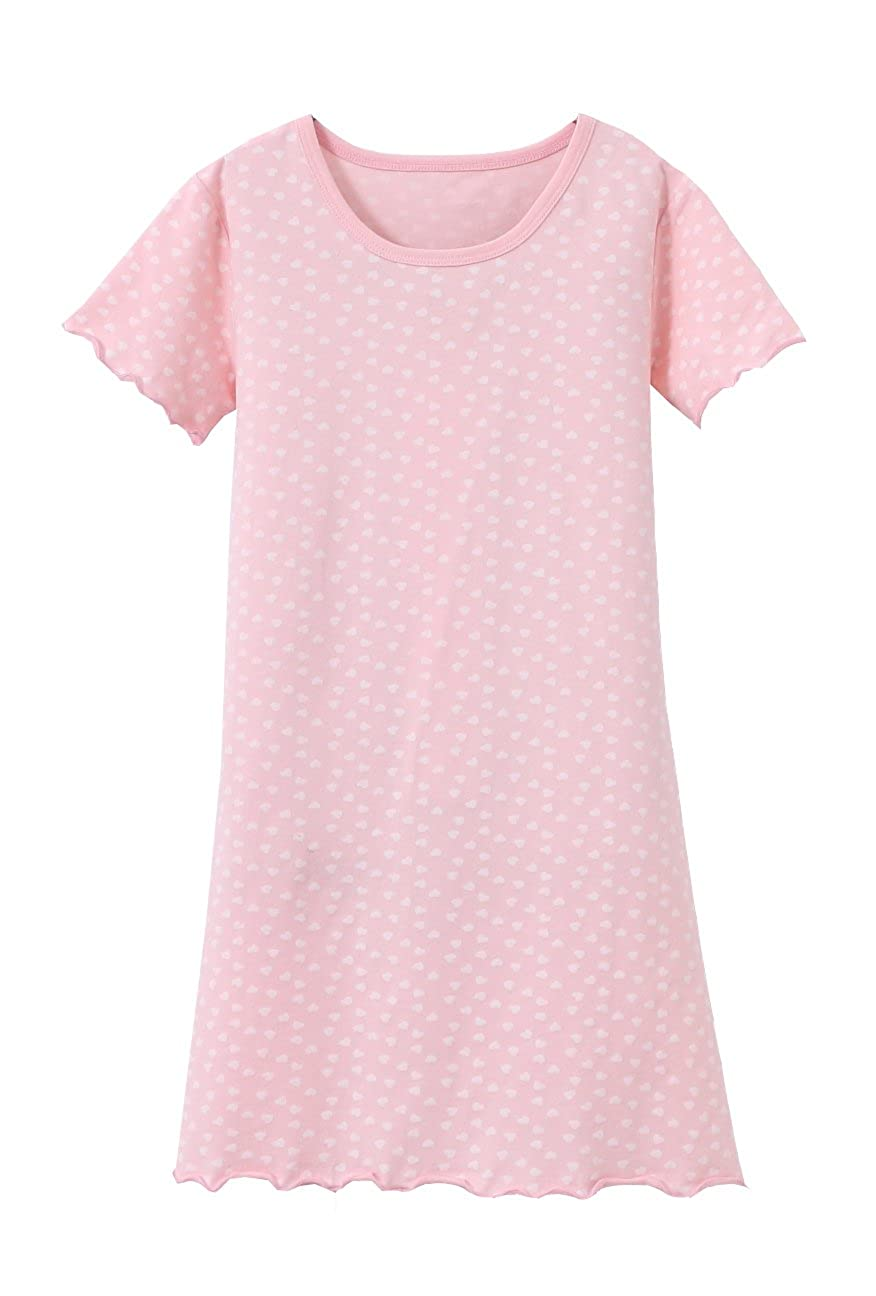 ABClothing Cotton Girls Heart Nightdress Pink White 3-12 Years Old