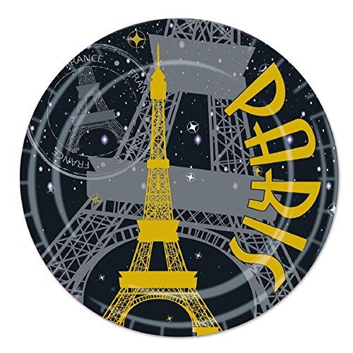 Pack of 96 Disposable Black, Gray and Gold Paris Eiffel Tower Dessert Plates - Plate Paris Dessert