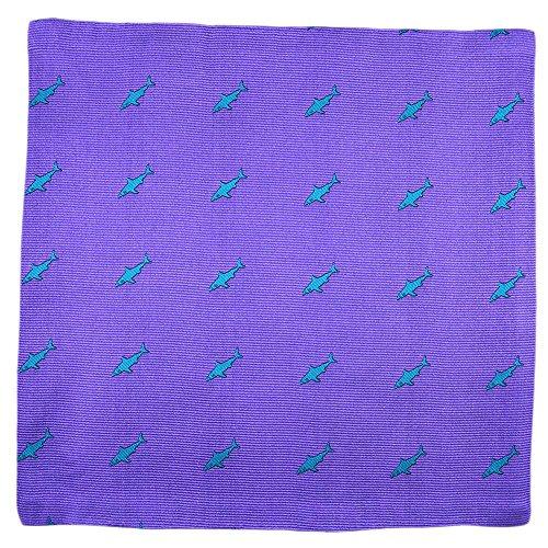 SummerTies Shark Pocket Square - Woven Silk
