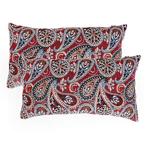 baibu Paisley Cushion Cover, Pack of 2 Decorative Throw Pillow Cushions Covers Sham Cushion Case (Red, 12