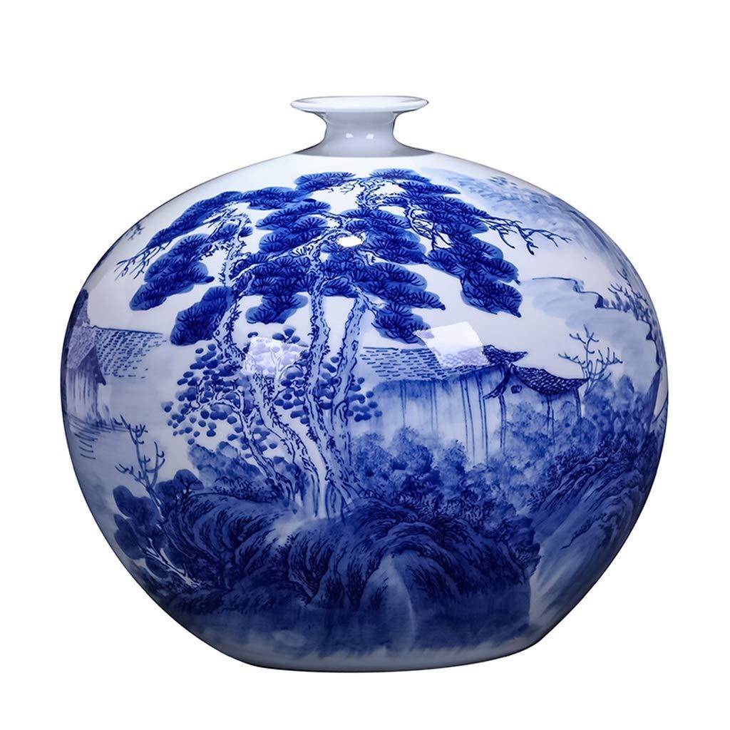 MAHONGQING 花瓶セラミックマスターマスター手描きの青と白の磁器花瓶フラワーアレンジメントアンティーク中国風のリビングルームの棚の装飾 B07RTM4XD2