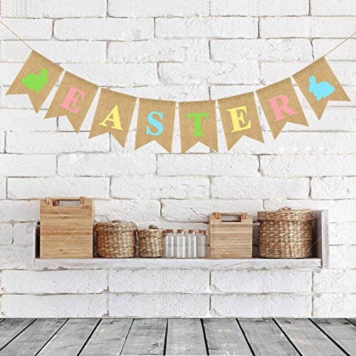 atimier Burlap Happy Easter Banner | Rustic Easter Celebration Decorations | Happy Easter Bunting Garland with Rabbit Bunny Sign | Easter Party Decor Photo Props ()