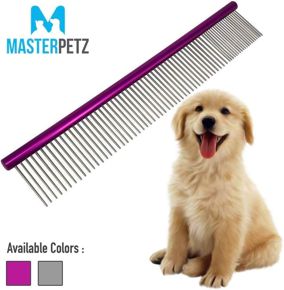 MASTERPETZ Pet Comb Dog Grooming Brush Cats Puppy Greyhound Goldendoodle Shih Tzu Fur, Easy Grip Stainless Steel with Different Spaced Rounded Hypoallergenic Fine Pin