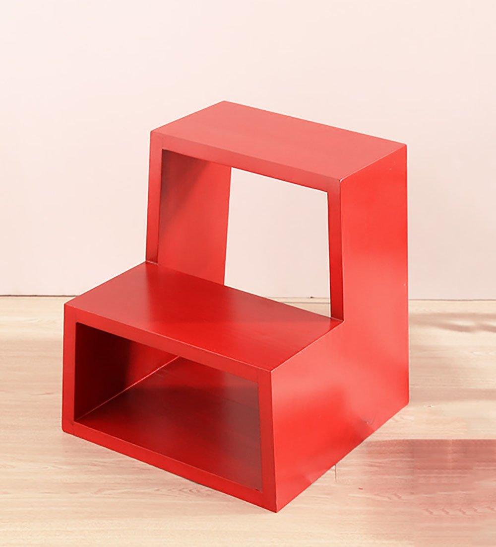 CAIJUN 2段ラダースツール 無垢材 世帯 靴を履く 階段のスツール、 4色 ステップ (色 : 赤) B07DT1446K 赤 赤