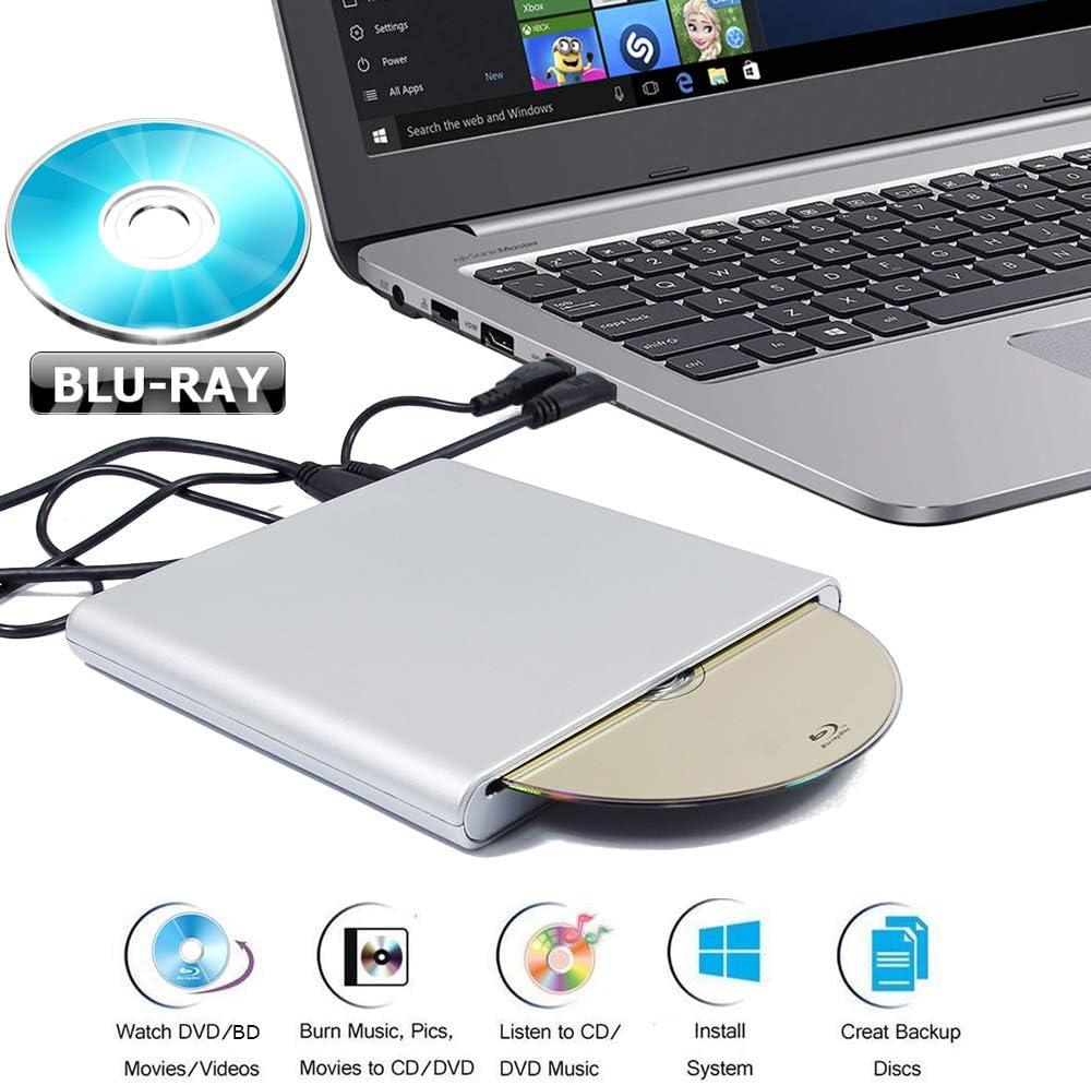 Portable External USB 3.0 Blu-ray Movies Disc Player for Alienware M15 M 15 Area 51m 51 Aurora R7 M17 17 R5 AW3418DW R8 Gaming Laptop PC Blue-ray Combo DVD+-RW DL Burner Slot Optical Drive