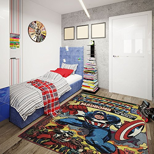 Comics Captain America Superhero Pattern Kids Area Rug, Fun