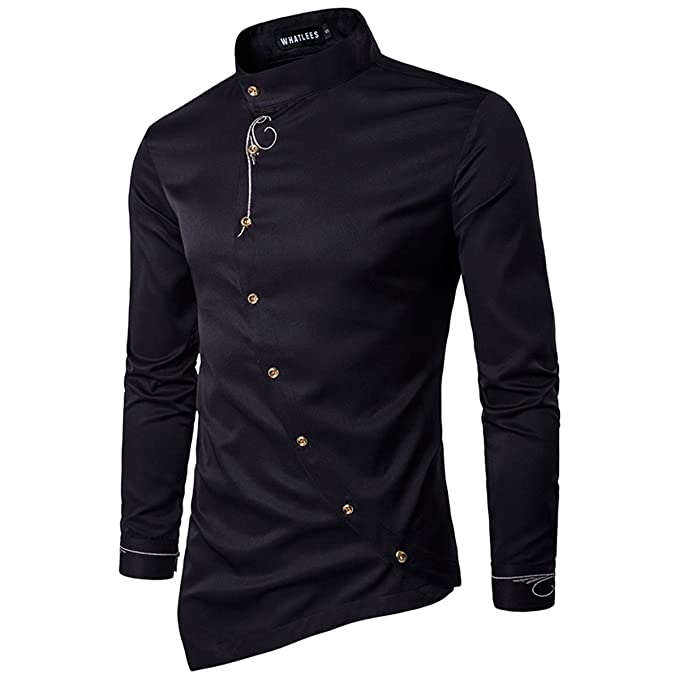 00908d8bbe6 ZYFGfree Fashion Personality Design Male Business Casual Long Sleeve Button  Shirts (Black