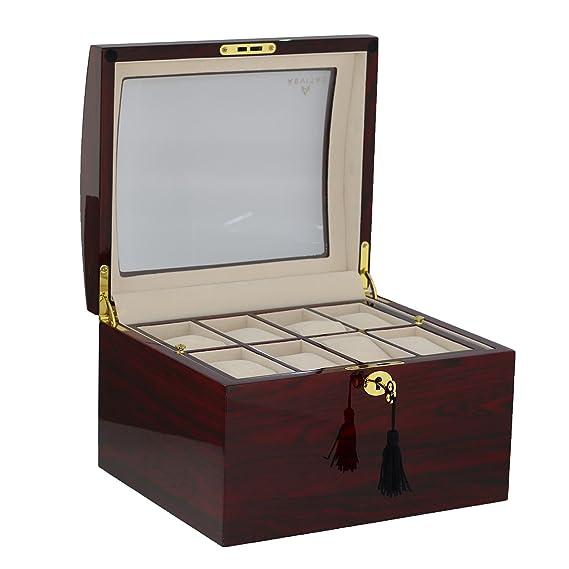 Calidad superior palisandro reloj caja de coleccionista para 16 relojes por Aevitas
