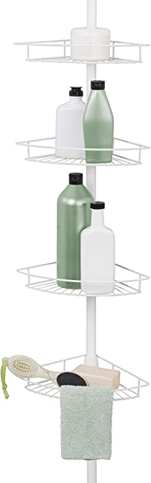 Zenna Home Pole Shower Caddy, White