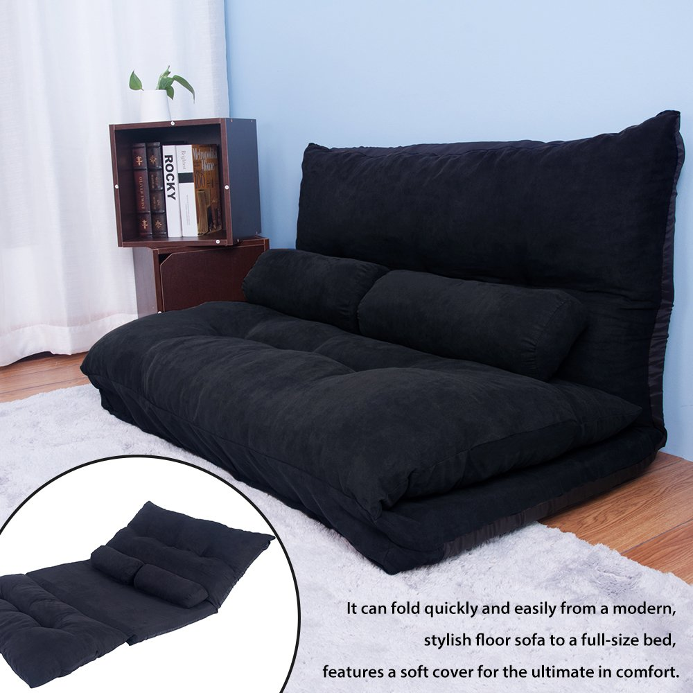 Merax Floor Sofa Bed Adjustable Futon Sleeper Bed Lazy Sofa Couches Living Room Furniture with Two Pillows (Black) by Merax