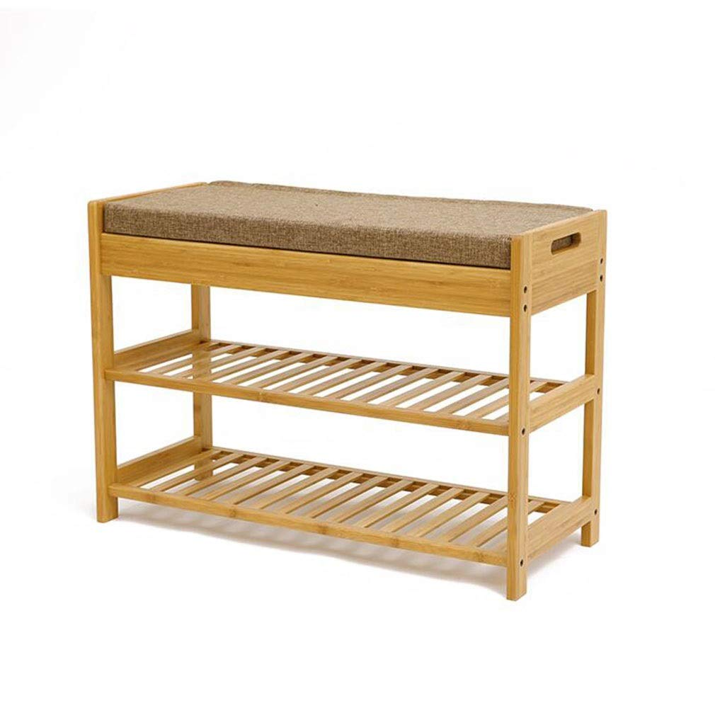 52cm QIQI-LIFE Bamboo shoes Rack shoes Bench with Seat Cushion, Hallway shoes Storage Bench Organizer (Size   52cm)