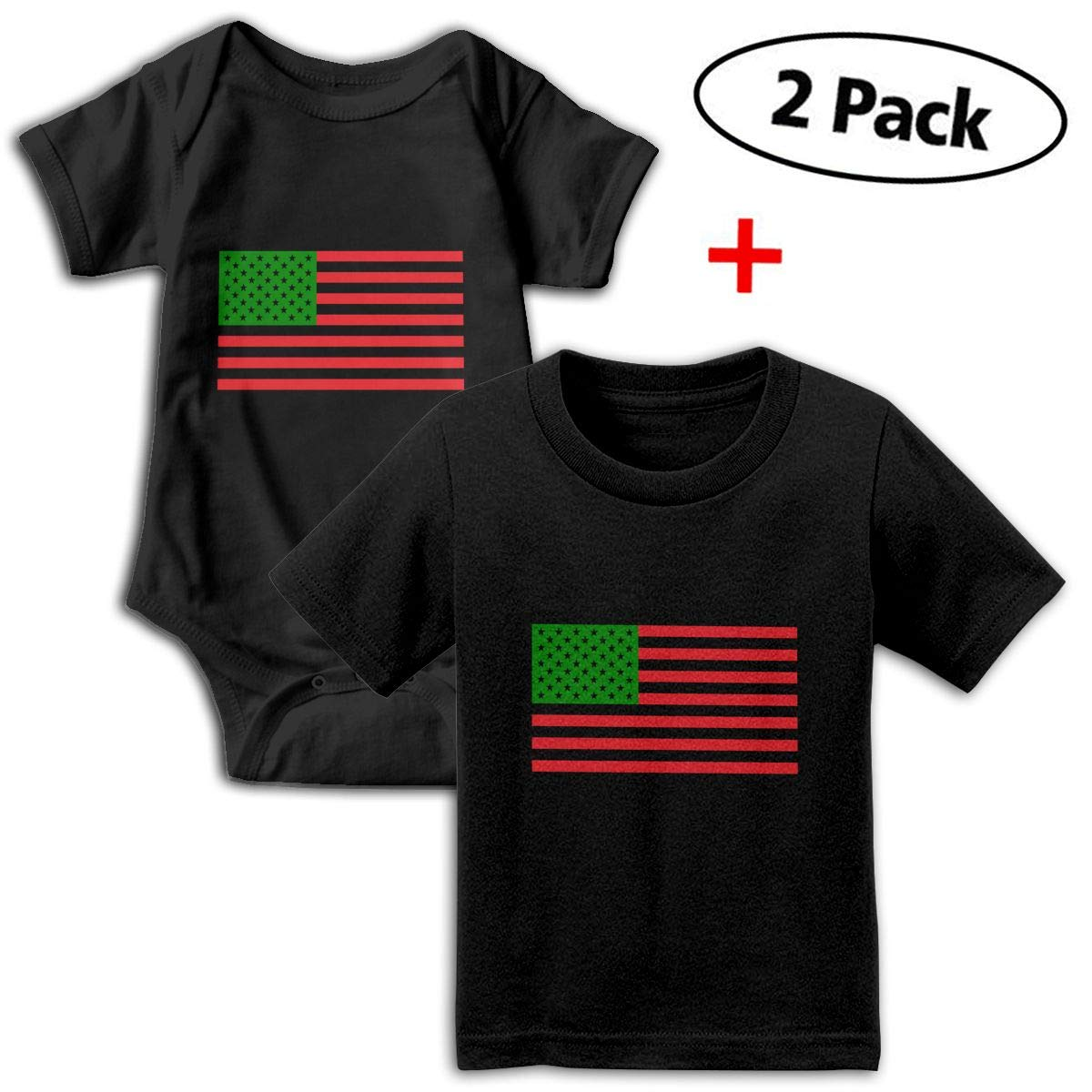 African American Flag Red Black and Green Unisex Toddler Baby 2-Piece Short-Sleeve Bodysuit Baby T-Shirt Set