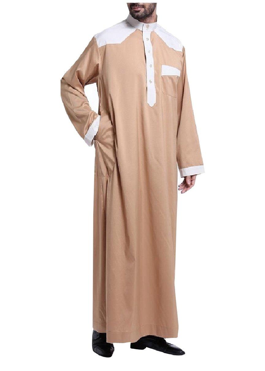 Highisa Men Long Sleeve Middle East Splice Saudi Arabia Muslim Thobe Camel L