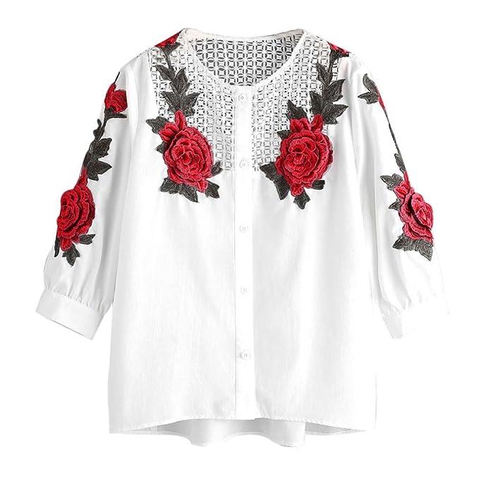 Mujer Camiseta, ❤️Ba Zha Hei Blusa Blanco Camisa de Manga Corta con Botones Mujer