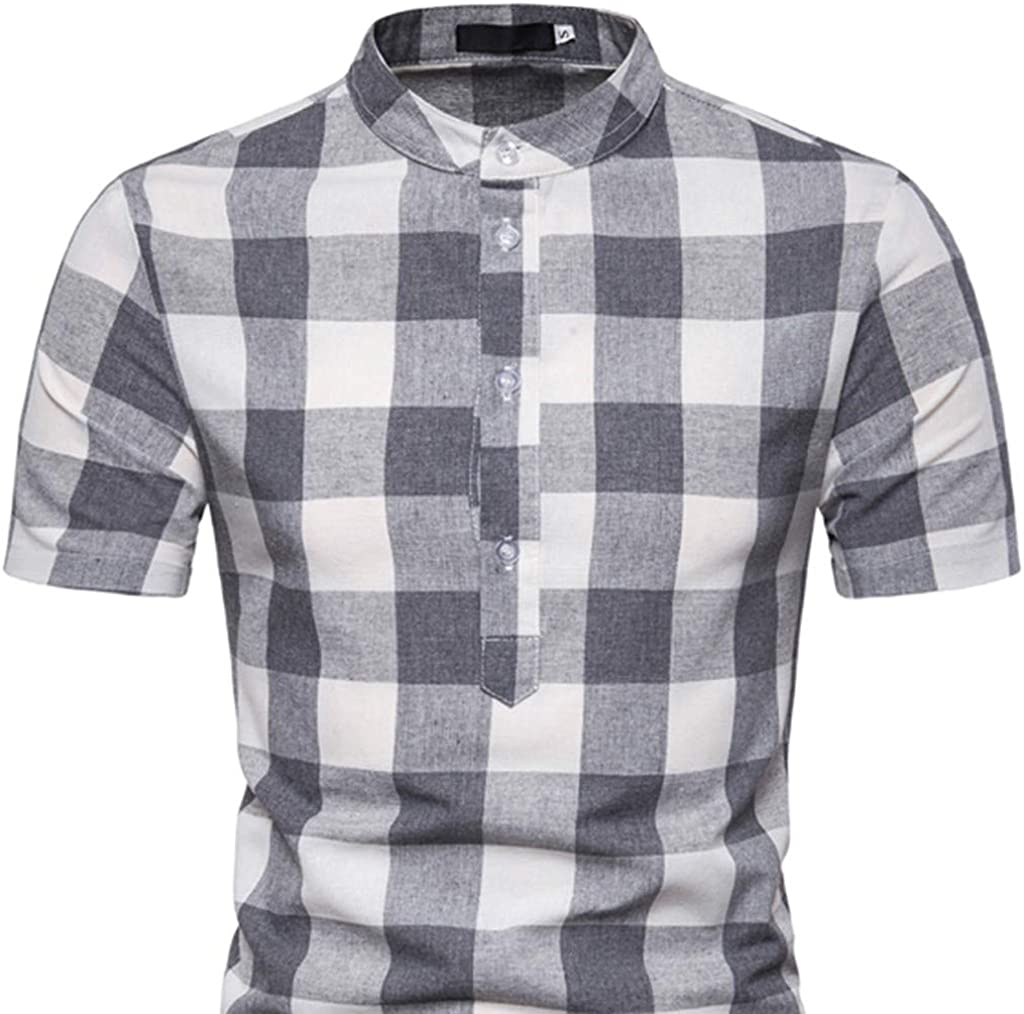 Lattice Print Casual Button Down Standard Fit Beach Shirts Mens Hawaiian Short Sleeve Shirt