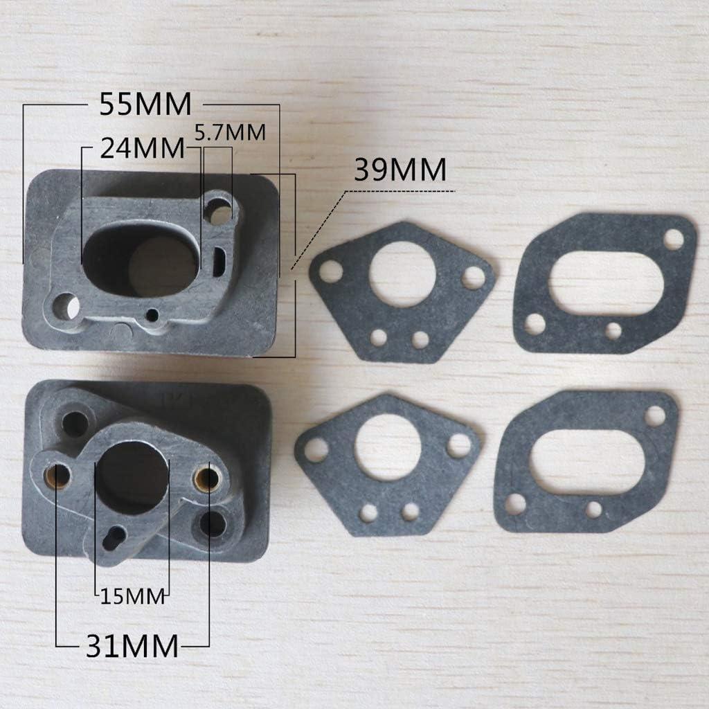 Adaptador de carbohidratos Tubo de admisi/ón BIlinli 2 Piezas 40-5 43CC 52CC desbrozadora colector de admisi/ón Conector de Base del carburador