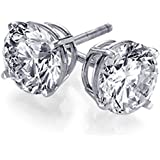 925 Sterling Silver 4.0 tcw Basket Setting 8MM Clear Round CZ Cubic Zirconia Nickel Free Stud Earrings