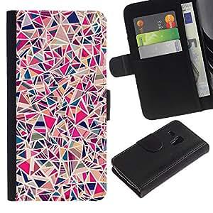 KLONGSHOP / Tirón de la caja Cartera de cuero con ranuras para tarjetas - Art Painting Colorful Blue - Samsung Galaxy S3 MINI NOT REGULAR! I8190 I8190N