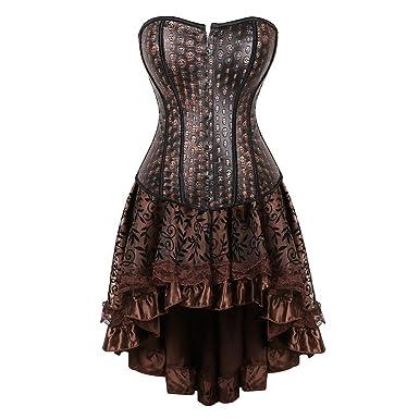 LFFW Corsé de Calavera con Falda de Doble Nivel para Mujer Vestido ...
