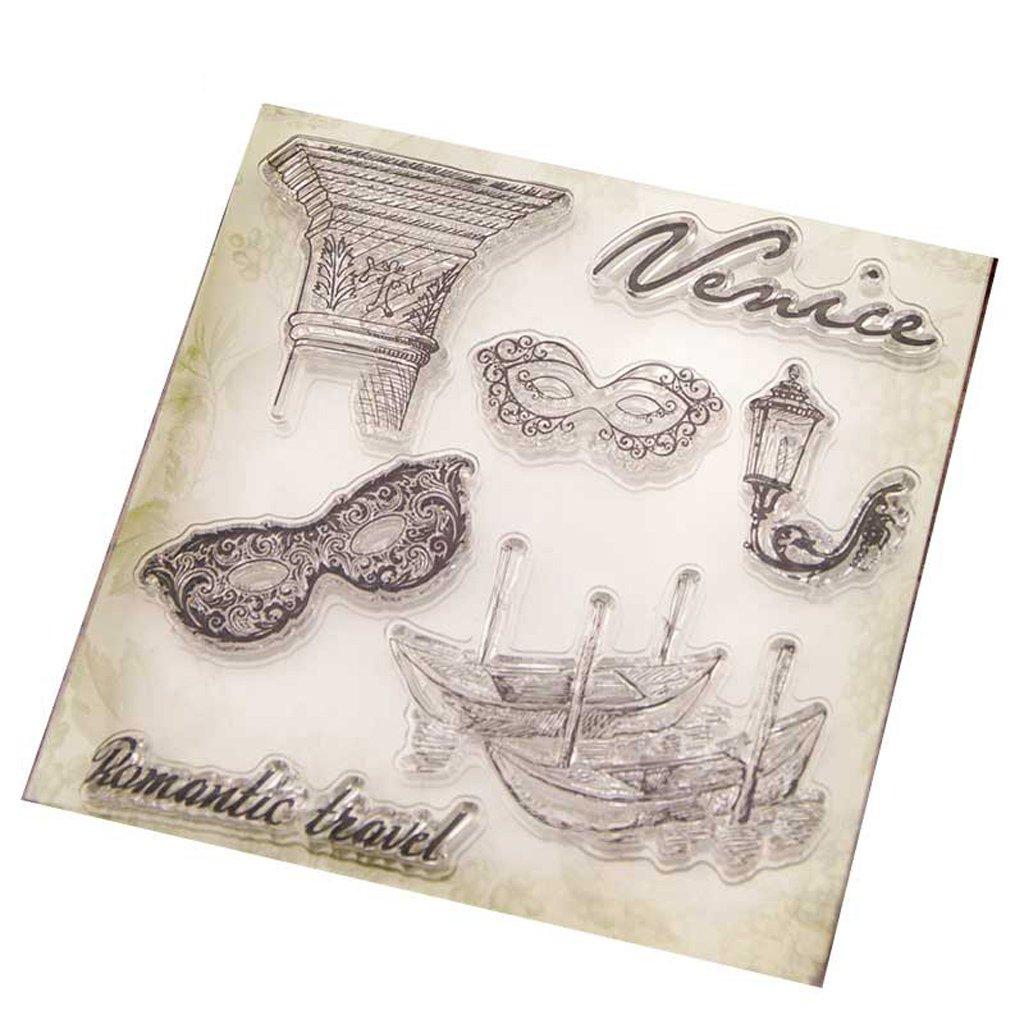 Qiman Masque pour les yeux Effacer Silicone Seal Stamp pour bricolage Album Scrapbooking Photo Card Decor