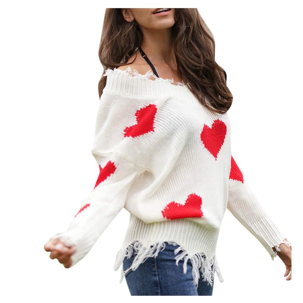 SHUSUEN Winter Sweater Women 2020 Xmas Knitted Pullover Sweater Female Print Long Sleeve Jumper Sweater Red by SHUSUEN