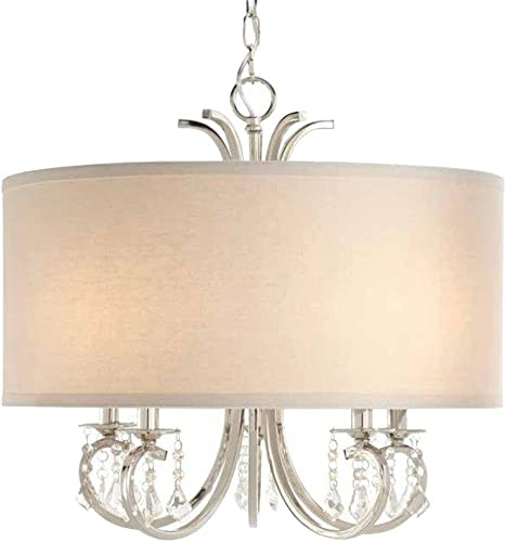 Home Decorators Collection 5-Light Polished Nickel Drum Pendant Chandelier with Beads