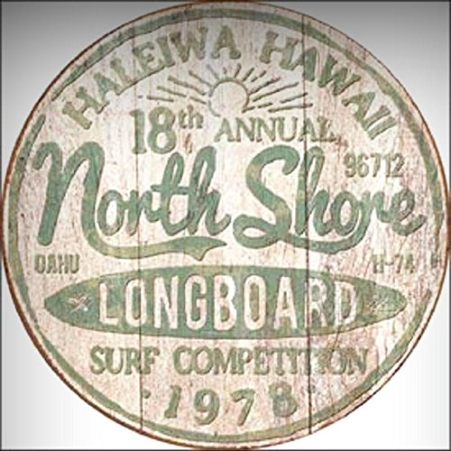 Hawaii Tin (North Shore Longboard Surf Competition Novelty ROUND TIN SIGN Vintage Hawaii for Home/Man Cave Decor by PrettyMerchant)