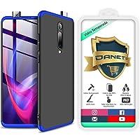 Kit Capa Capinha Anti Impacto 360 Full Para Xiaomi Mi 9t Redmi K20 e K20 Pro - Case Acrílica Fosca Com Película De Vidro Temperado - Danet (Preto com azul)