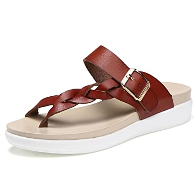 3ef22afc374d2 Image Unavailable. Image not available for. Color  women flat sandals beach  slippers round toe comfortable ...