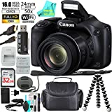 Canon Powershot SX530 HS 16.0 MP Digital Camera with 50x Zoom, Wi-Fi & 1080p Full HD Video + Extra Battery + 32GB Memory + Spider Flexible Tripod + Deluxe Carrying Case + Prime Seller Cleaning Cloth