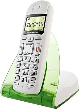 Sagemcom D27T - Teléfono fijo inalámbrico DECT/GAP, color blanco/verde [Importado de Francia]: Amazon.es: Electrónica