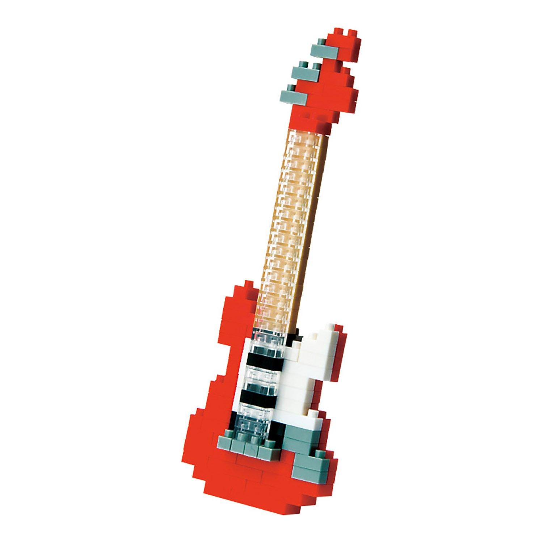 Nanoblock 58514166 - Elektrische Gitarre, 3D-Puzzle, Mini Collection, Schwierigkeitsstufe 2, mittel, 130 Teile, rot NBC-037 Berühmte Künstler