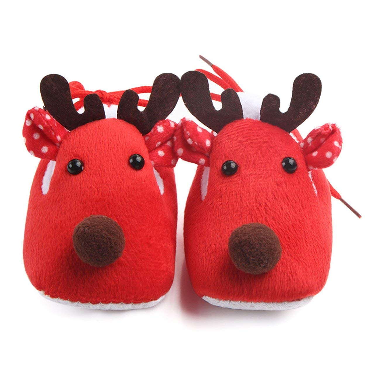 Lovely Christmas Deer Winter Coral Velvet Suela sú per Suave en la Parte Inferior Zapatos Niñ os Niñ as Toddler Baby Shoes Có modo Uso Diario Dailyinshop