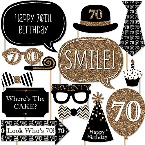 Adult 70th Birthday - Gold - Photo Booth Props Kit - 20 Count - 70th Birthday
