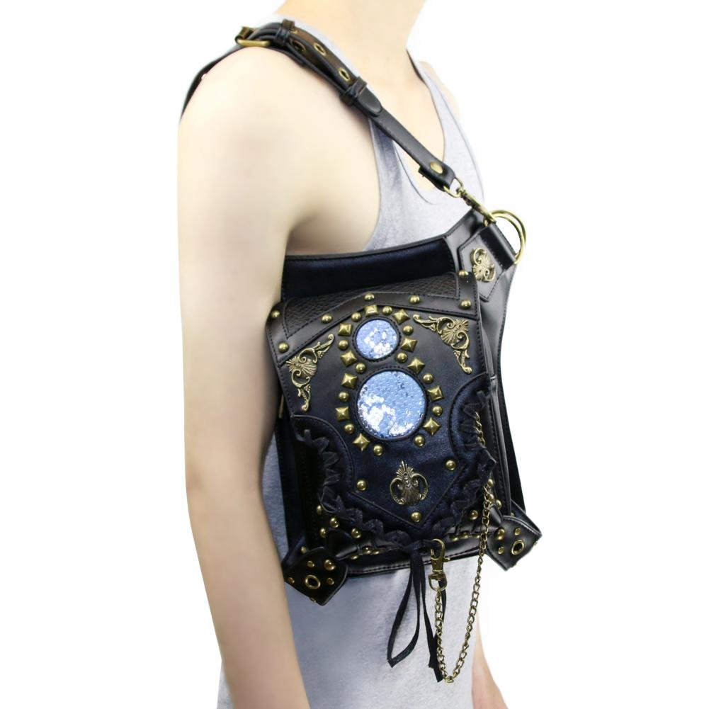 WPYZL Multi - functional women 's shoulder oblique cross - chain package punk pockets by Bumbag&KAIMENDAJI (Image #7)