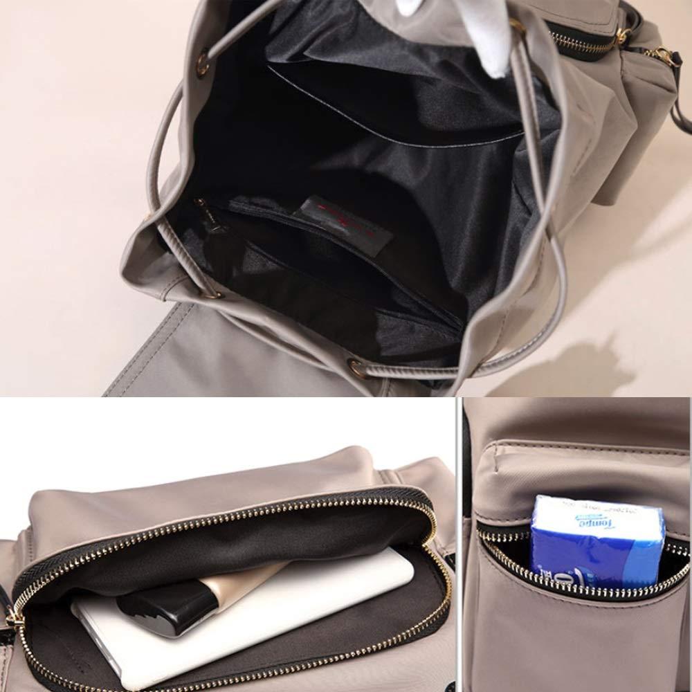 ZJDECR Nylonryggsäck kvinnlig oxfordtyg lätt vattentät stor kapacitet damväska ryggsäck ryggsäck (färg: Höstgrön) Grått