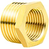 "Joywayus Brass Reducer Hex Bushing Reducing Pipe Fitting 1/2"" G Female × 3/4"" NPT Male Thread Adapter"