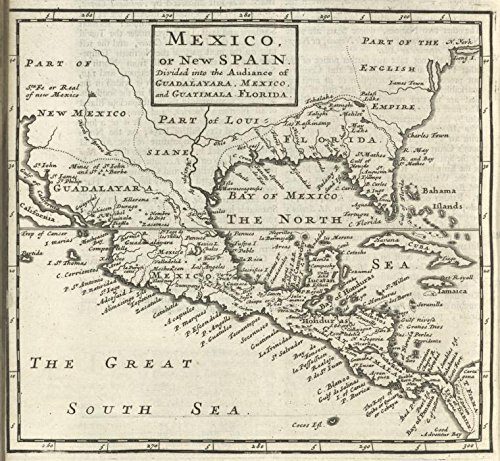 Historic 1701 Map   Mexico, or, New Spain : divided into the audiance of Guadalayara   Antique Vintage Map Reproduction by historic pictoric