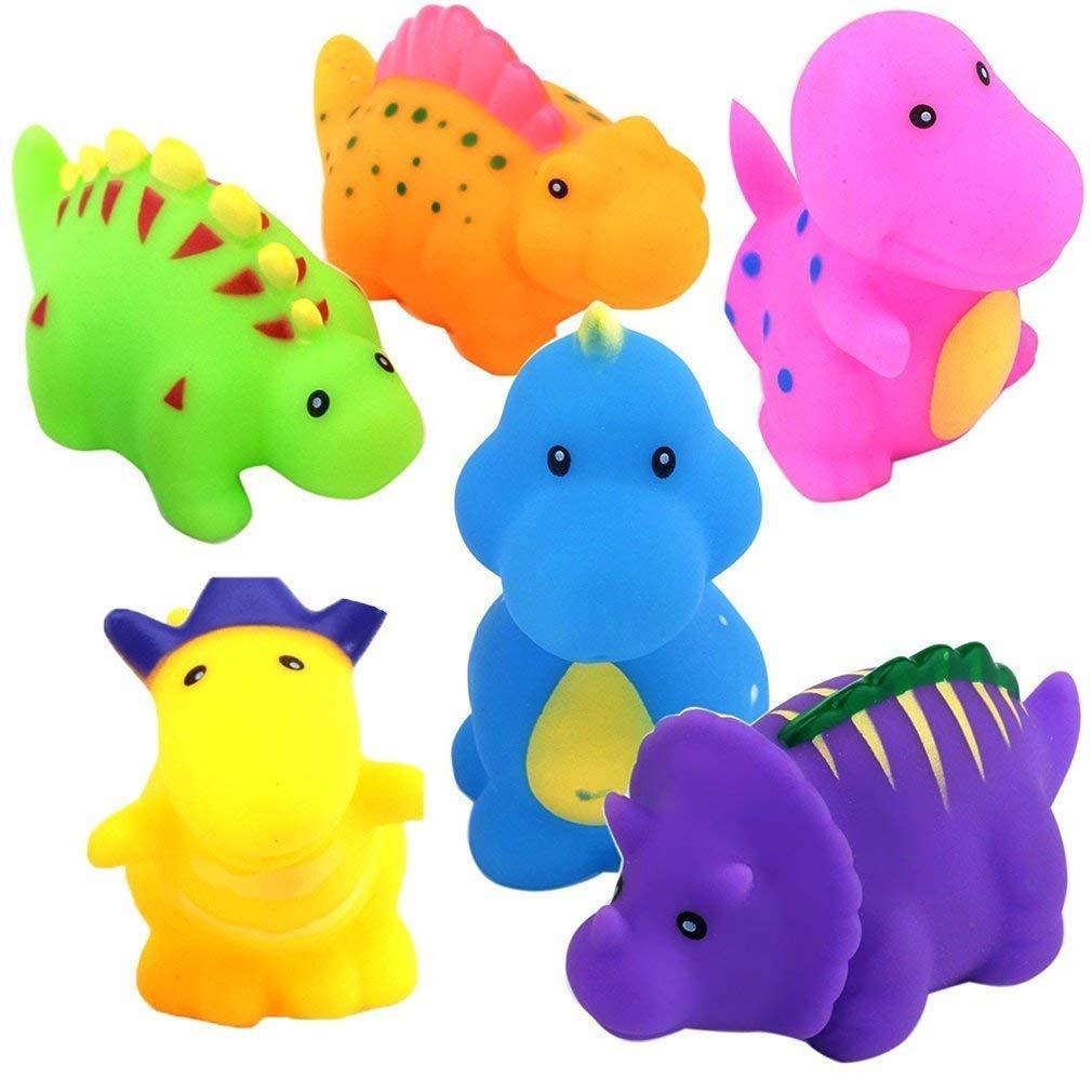 Flybiz flotante baño Squirt juguetes,Juguete de baño divertido Juego de chorros de dinosaurios de 6 piezas Juego de juguetes de agua de los juegos para niños (multicolor) Para bebé