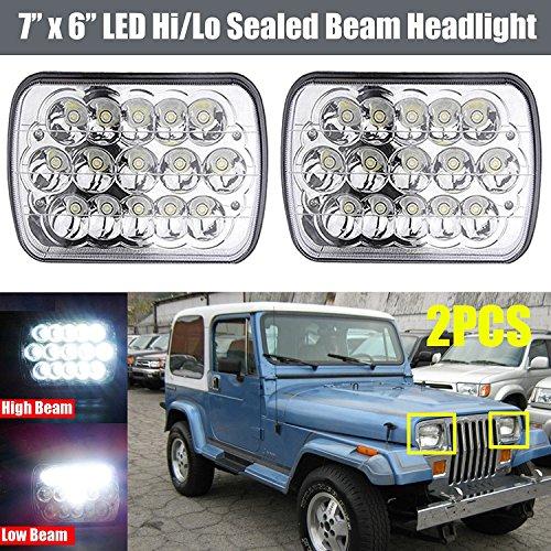 Pair 7X6 5X7 Inch LED Headlight Rectangular 90W Super Bright Sealed Hi/Lo Beam for Jeep Wrangler YJ 1987-1995 - H4 Plug OEM Replace H6014 H6052 H6054 6054 - 2 Year (Jeep Wrangler Sealed Beam Headlight)