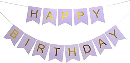 Glitter Birthday Banner Purple Happy Birthday Sign Pre-strung Sparkling Gold Letter Party Bunting