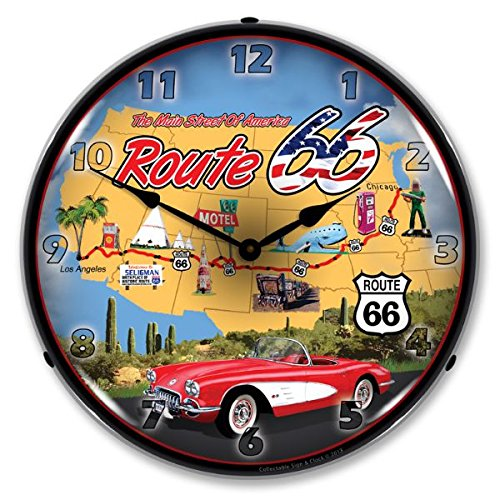 Route 66 w/ Corvette Lighted Wall Clock