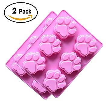 2-pack (silicona), diseño de perro y gato de huellas de chocolate