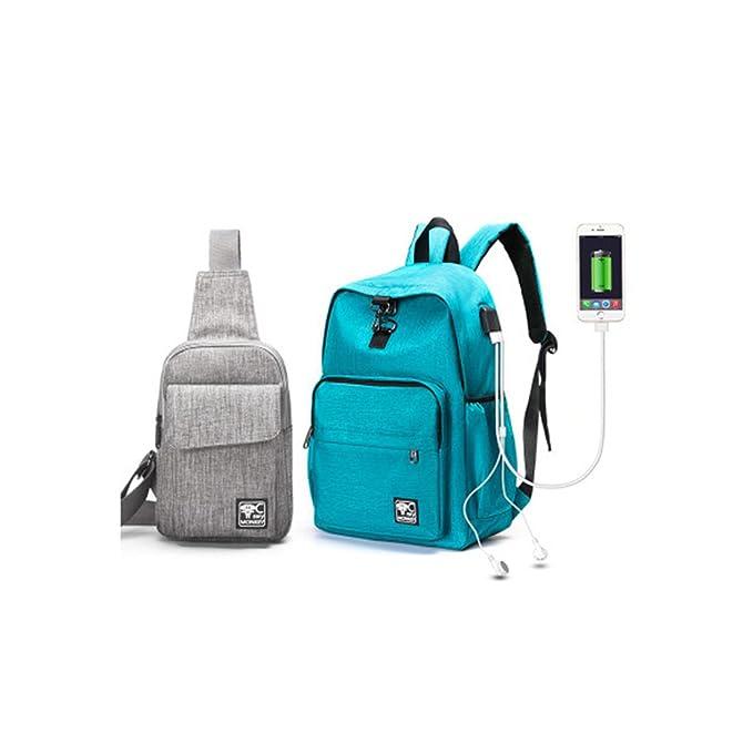 Mochilas Escolares Juveniles, Mochila Casual Chico con USB Puerto de Carga y toma de auriculares